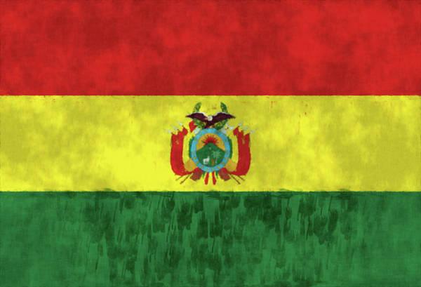 Wall Art - Digital Art - Bolivia Flag. Painted Bolivia Flag Design. by World Art Prints And Designs
