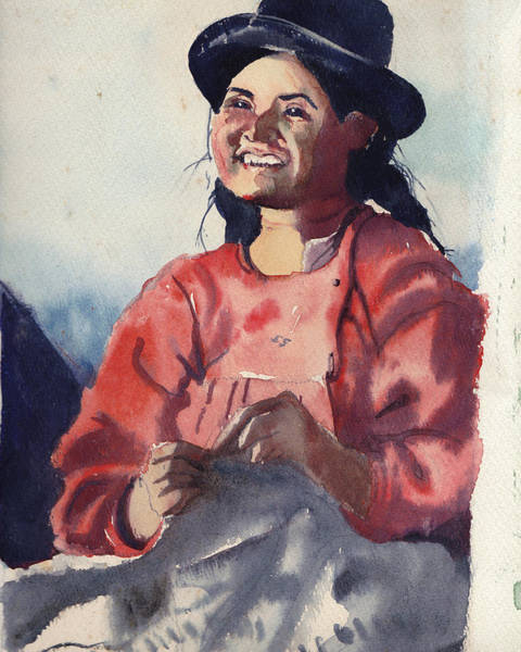 Sewer Painting - Bolivian Seamstress by Gertrude Palmer