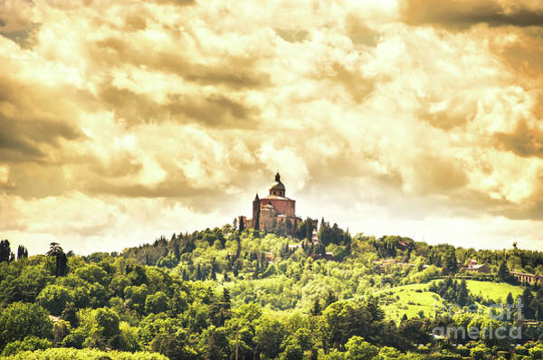 Photograph - Bologna San Luca Sanctuary Dramatic Yellow Sky by Luca Lorenzelli