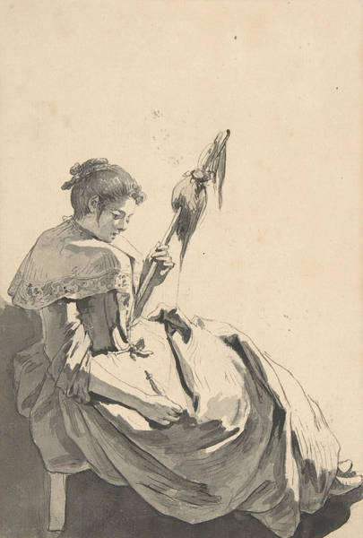 Jeans Drawing - Bolognese Peasant Girl With A Distaff by Jean-Baptiste Greuze