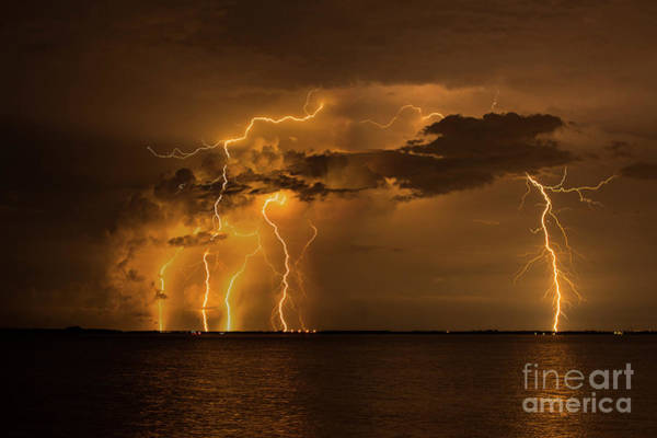 Lightning Bolt Photograph - Bolts From The Sunshine Bridge by Quinn Sedam