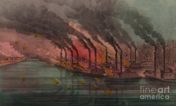 Inferno Painting - Bombardment And Capture Of Fort Henry, Tennessee by Currier and Ives