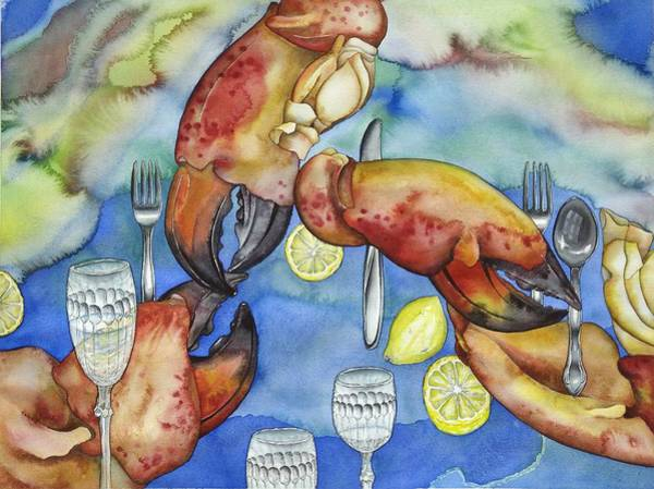 Wall Art - Painting - Bon Appetit Favorite Food Left Image Diptych by Liduine Bekman
