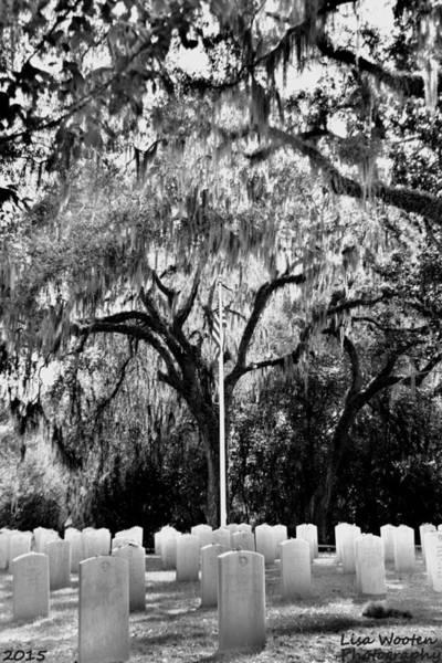 Photograph - Bonaventure World War 2 Cemetery Black And White H D R by Lisa Wooten