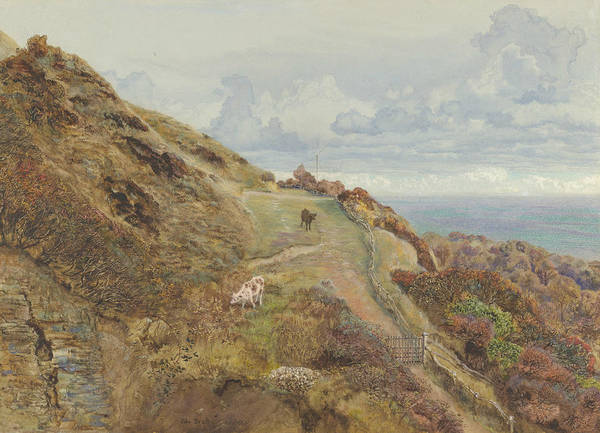 Wall Art - Drawing - Bonchurch Downs by John Brett