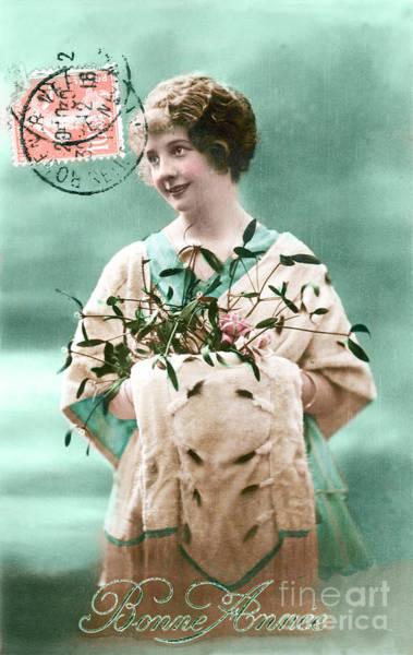 Restore Wall Art - Photograph - Bonne Annee Vintage Woman by Delphimages Photo Creations