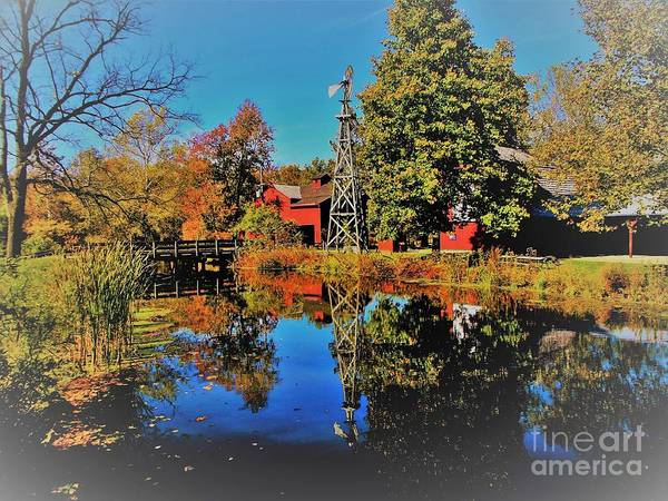 Bonneyville Grist Mill            Elkhart County        Autumn           Indiana Art Print