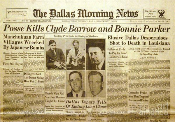Clyde Photograph - Bonnie And Clyde Newspaper by Jon Neidert