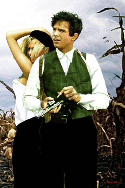 Wall Art - Mixed Media - Bonnie And Clyde by Thomas Pollart