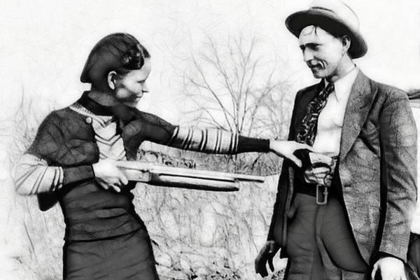 Clyde Barrow Mixed Media - Bonnie Disarms Clyde by Daniel Hagerman