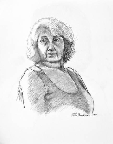 Nipples Drawing - Bonnie by Keith Burgess