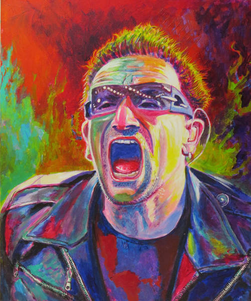Rattle And Hum Painting - Bono by Tomas OMaoldomhnaigh