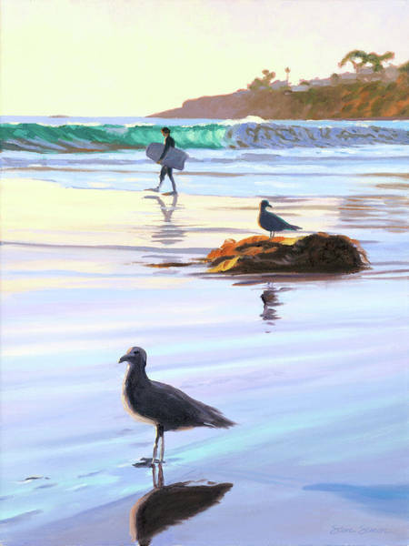 Wall Art - Painting - Boogie Boarder And Birds by Steve Simon