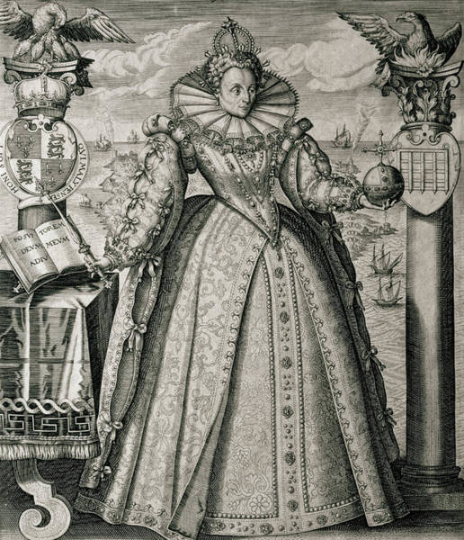 Wall Art - Drawing - Book Frontispiece Celebrating Queen Elizabeth I's Happy And Prosperous Reign by English School