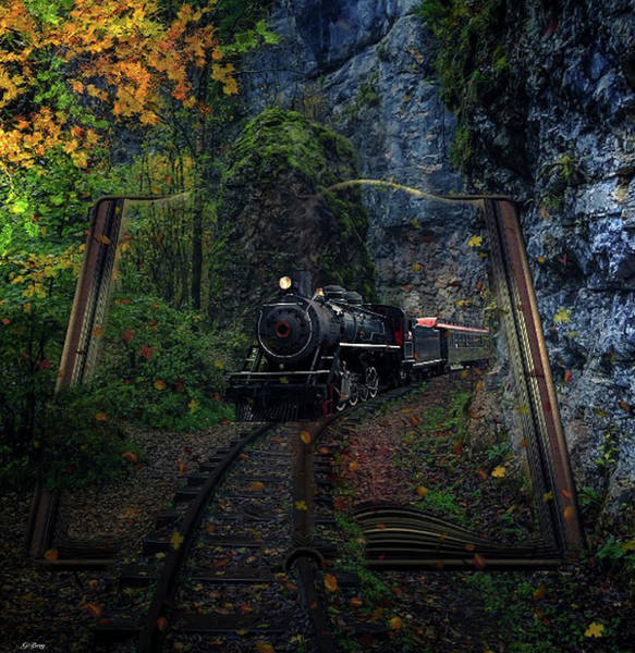 Fall Scenery Mixed Media - Book The Evening Train by G Berry