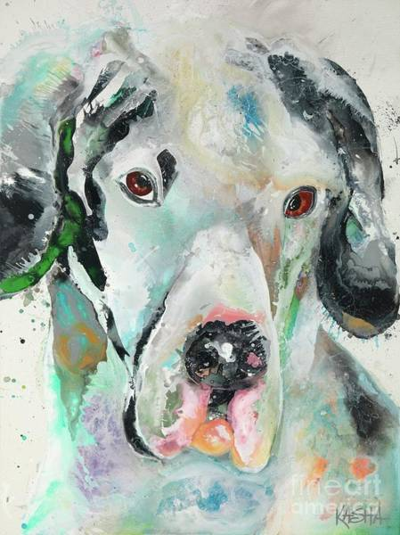 Black Great Dane Painting - Bookend 1 by Kasha Ritter