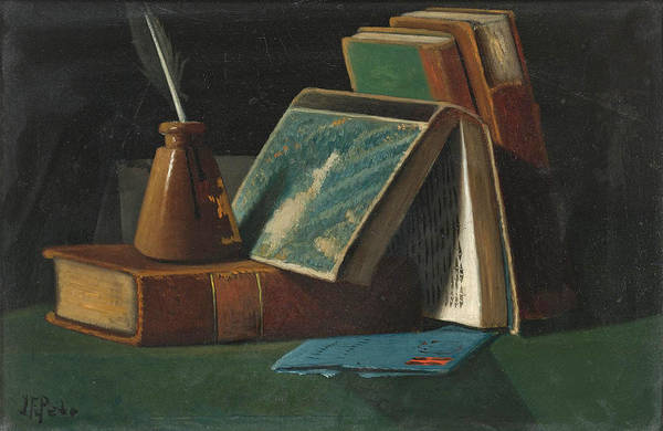 Inkwell Painting - Books And Inkwell by John Frederick Peto