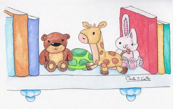Rabit Painting - Books And Toys by Maria J Cuesta