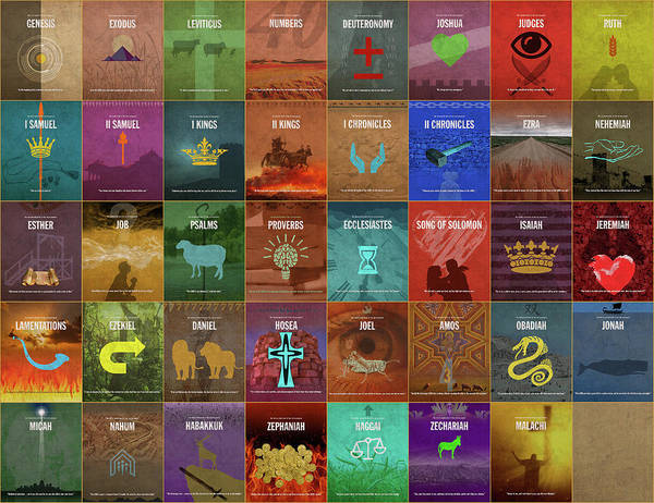 Wall Art - Mixed Media - Books Of The Old Testament Graphic Design Minimal Poster Series Complete by Design Turnpike
