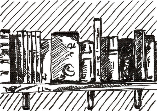 Drawing - Bookshelf 1 2015 - Aceo by Joseph A Langley
