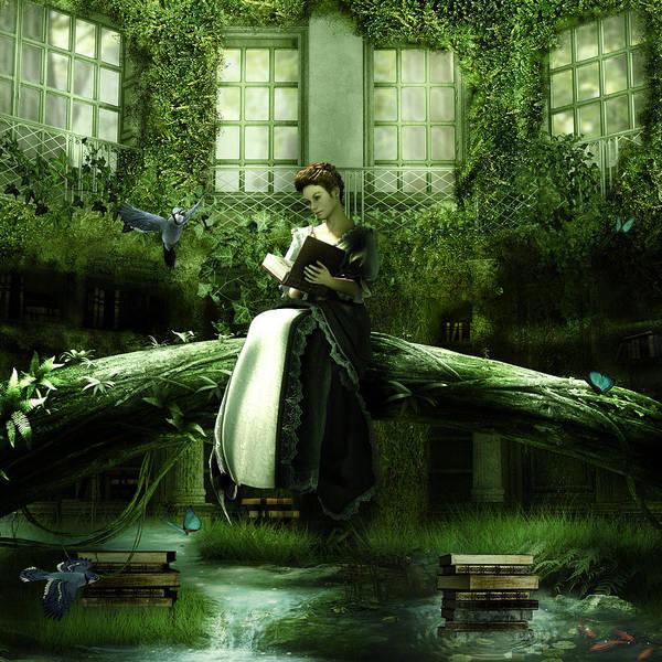 Reader Digital Art - Bookworm by Cheri Stollings