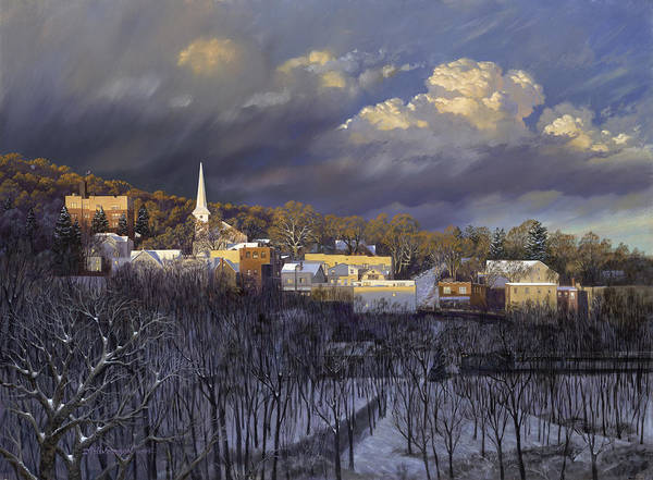 Street Scape Painting - Boonton In Winter by David Henderson