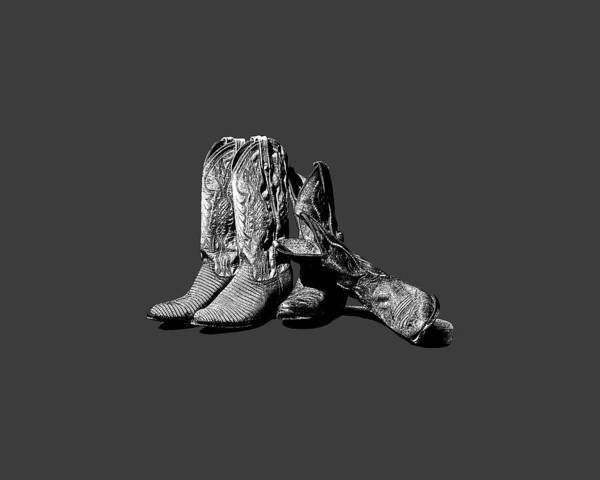 Photograph - Boot Friends Gray Background by Lesa Fine