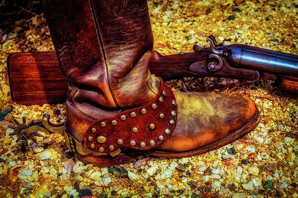 Gunfight Wall Art - Photograph - Boot With Spur And Shotgun by Garry Gay