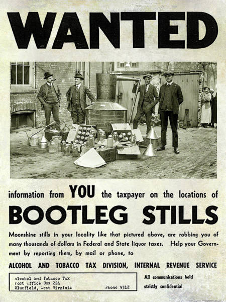 Moonshine Photograph - Bootleggers Wanted Poster by Jon Neidert