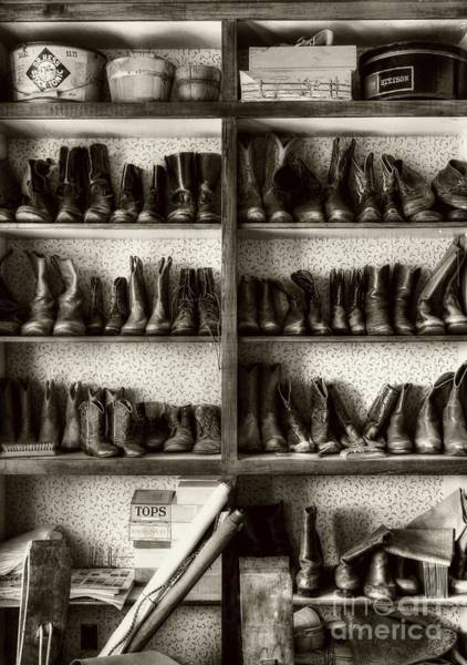 Photograph - Boots And Stuff Sepia Tone by Mel Steinhauer
