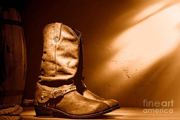 Wall Art - Photograph - Boots At The Hacienda - Sepia by Olivier Le Queinec
