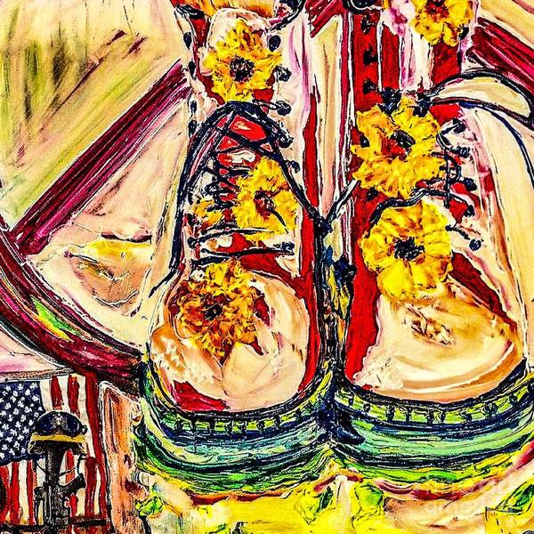 Peace Sign Mixed Media - Boots On The Ground by Paula Baker