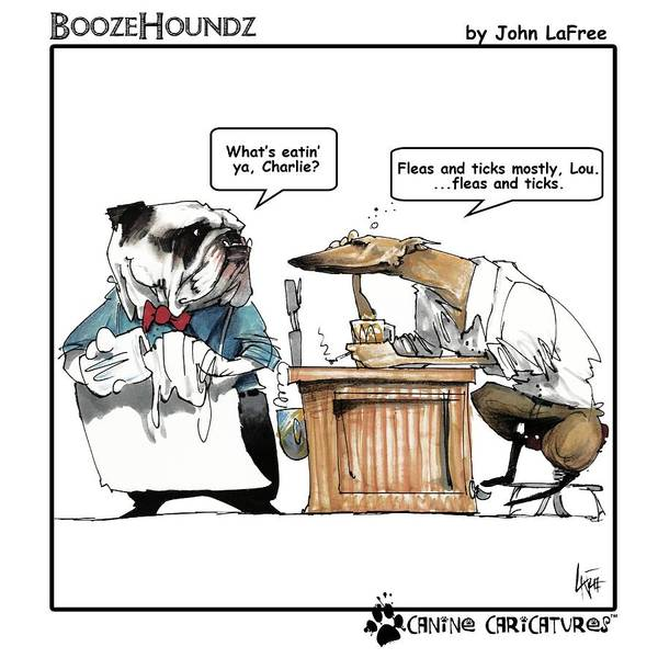 Drawing - Boozehoundz #1 Fleas by John LaFree