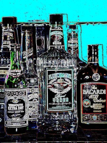 Digital Art - Boozy Line Up With Aqua  by Anita Burgermeister
