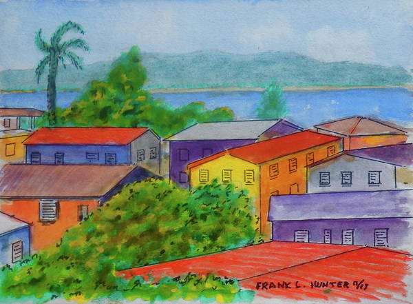 Painting - Boqueron Puerto Rico Rooftops by Frank Hunter