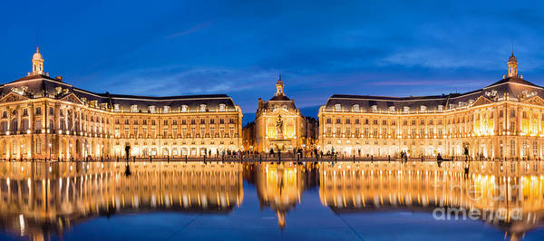 Town Square Wall Art - Photograph - Bordeaux By Night by Delphimages Photo Creations