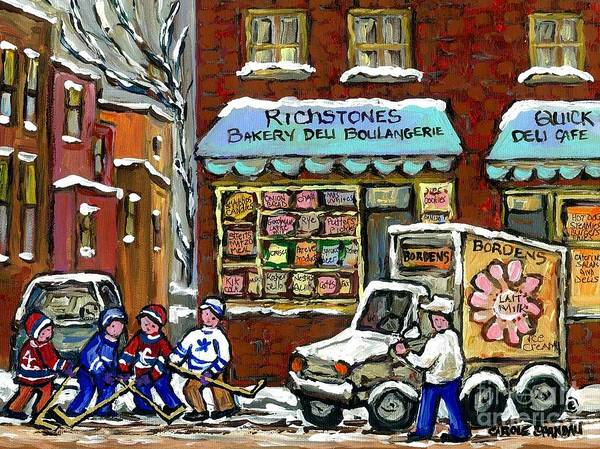 Boys Playing Hockey Painting - Borden's Milkman Delivery Truck At Richstone's Bakery Montreal Hockey Paintings Best Canadian Art  by Carole Spandau