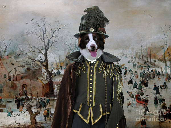 Wall Art - Painting - Border Collie Art Canvas Print - Winter Landscape With Skaters by Sandra Sij