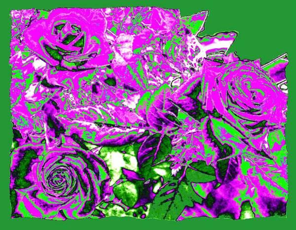 Wall Art - Digital Art - Bordered Elegant Roses by Will Borden