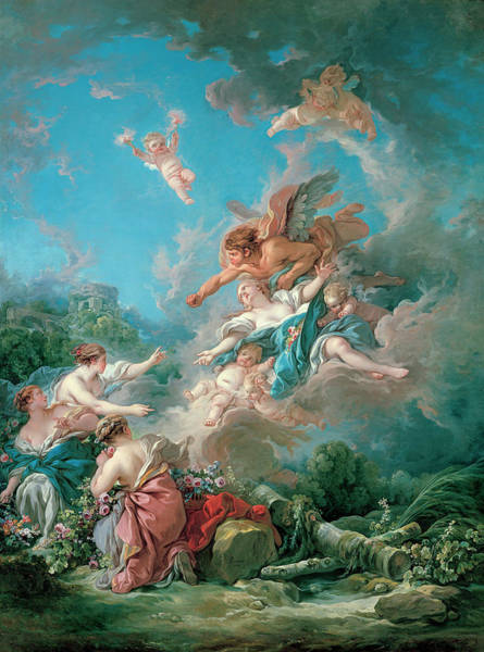 Francois Boucher Painting - Boreas Abducting Oreithyia by Francois Boucher