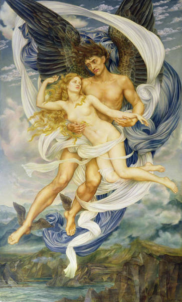Wall Art - Painting - Boreas And Oreithyia by Evelyn De Morgan