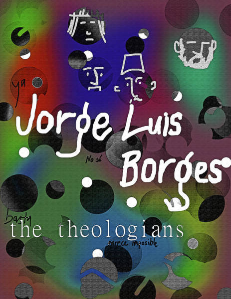 Drawing - Borges Theologians Poster by Paul Sutcliffe