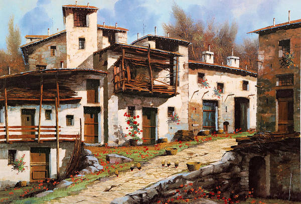 House Mountain Wall Art - Painting - Borgo Di Montagna by Guido Borelli