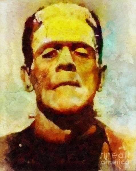 Frankenstein Painting - Boris Karloff As Frankenstein by Sarah Kirk
