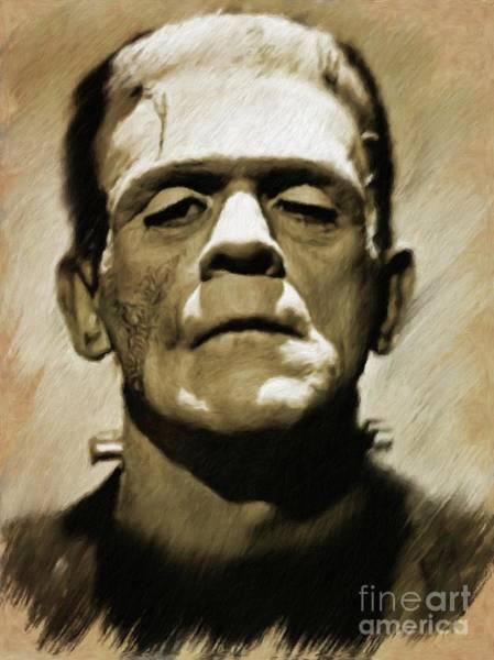 Frankenstein Painting - Boris Karloff As Frankenstein's Monster by Mary Bassett
