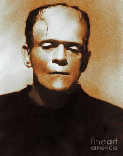 Frankenstein Painting - Boris Karloff, Frankenstein, Hollywood Legends by Mary Bassett