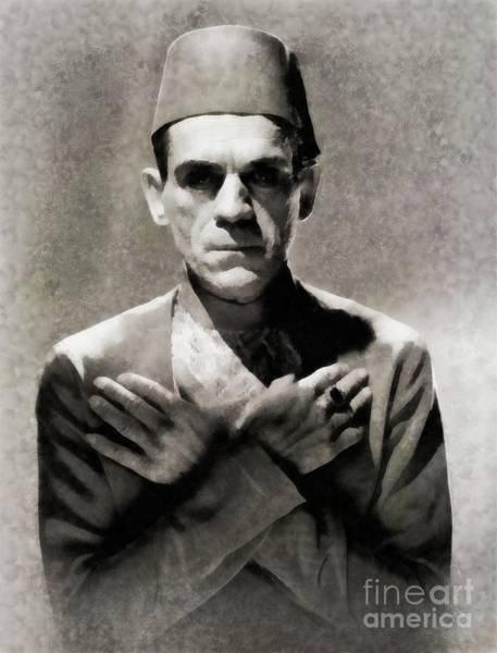 Horror Film Painting - Boris Karloff In The Mummy By Js by John Springfield