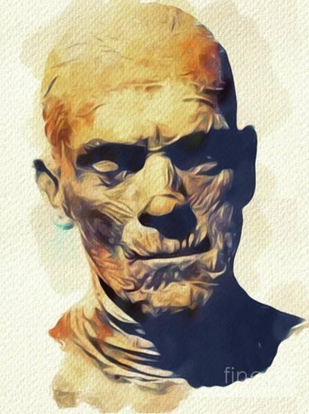 Horror Film Painting - Boris Karloff, The Mummy by Mary Bassett