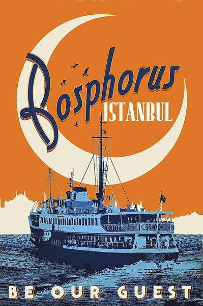 Istanbul Painting - Bosporus, Istanbul, Turkey, Tourist Ship On Its Route by Long Shot