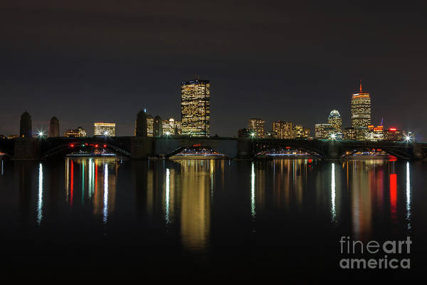 Boston Skyscrappers Behind Bridge Art Print